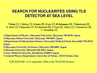 SEARCH FOR NUCLEARITES USING TLS DETECTOR AT SEA LEVEL