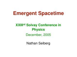 Emergent Spacetime