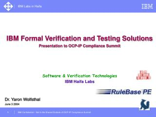 Software & Verification Technologies IBM Haifa Labs