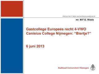 """Gastcollege Europees recht 4-VWO Canisius College Nijmegen: """"Biertje?"""" 6 juni 2013"""