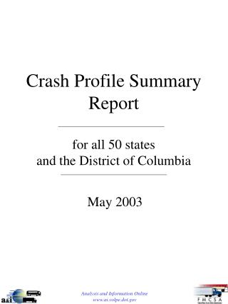 Crash Profile Summary Report for all 50 states and the District of Columbia