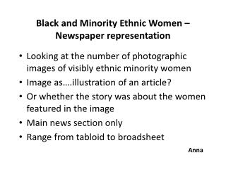 Black and Minority Ethnic Women – Newspaper representation
