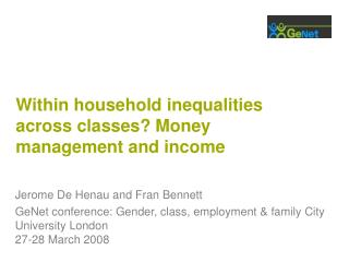 Within household inequalities across classes? Money management and income