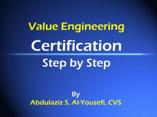 Value Engineering Certification Step by Step