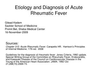 Etiology and Diagnosis of Acute Rheumatic Fever