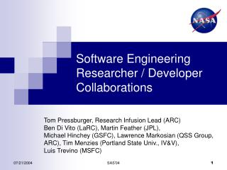 Software Engineering Researcher / Developer Collaborations