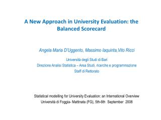 A New Approach in University Evaluation: the Balanced Scorecard
