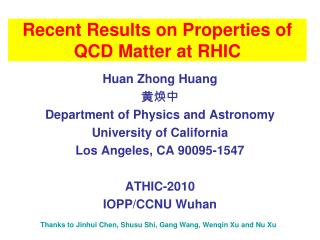 Recent Results on Properties of QCD Matter at RHIC