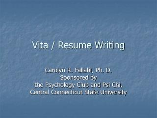Vita / Resume Writing