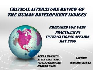Critical Literature Review of  the Human Development Indices
