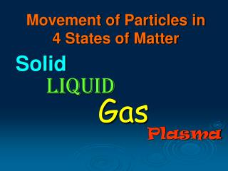 Movement of Particles in 4 States of Matter