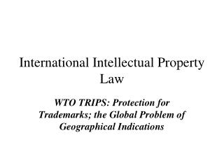 International Intellectual Property Law