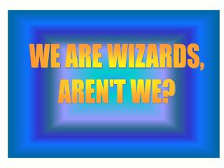 WE ARE WIZARDS, AREN'T WE?