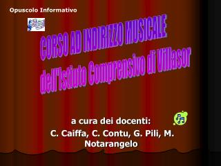 a cura dei docenti:  C. Caiffa, C. Contu, G. Pili, M. Notarangelo
