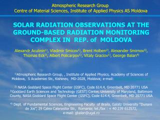 SOLAR RADIATION OBSERVATIONS AT THE GROUND-BASED RADIATION MONITORING COMPLEX IN  REP. of  MOLDOVA