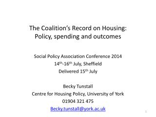 The Coalition's Record on Housing:  Policy, spending and outcomes