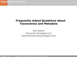 Frequently Asked Questions about Taxonomies and Metadata