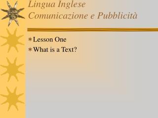 Lingua Inglese Comunicazione e Pubblicità