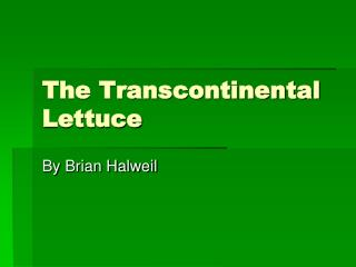 The Transcontinental Lettuce