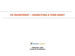 PE INVESTMENT – DISSECTING A TERM SHEET