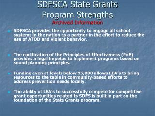 SDFSCA State Grants  Program Strengths Archived Information