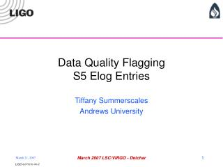 Data Quality Flagging S5 Elog Entries