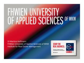 DI Martina Hoffmann FHWien University of Applied Sciences of WKW