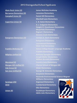 2012 Distinguished School Applicants
