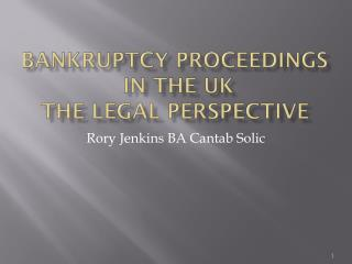 BANKRUPTCY PROCEEDINGS  IN THE UK The legal perspective