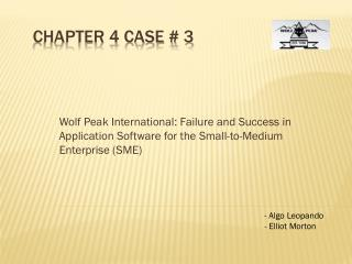 Chapter 4 Case # 3
