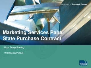 Marketing Services Panel  State Purchase Contract