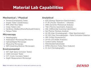 Material Lab Capabilities