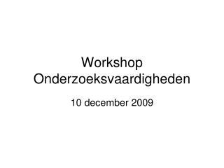 Workshop Onderzoeksvaardigheden