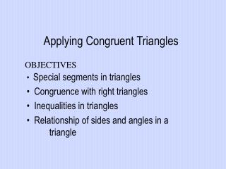 Applying Congruent Triangles