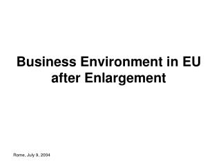 Business Environment in EU after Enlargement