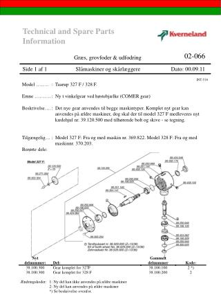 Technical and Spare Parts Information