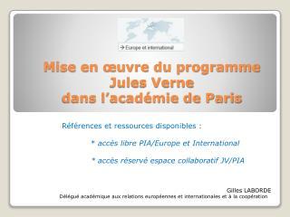 Mise en œuvre du programme  Jules Verne  dans l'académie de Paris
