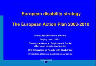European disability strategy   The European Action Plan 2003-2010
