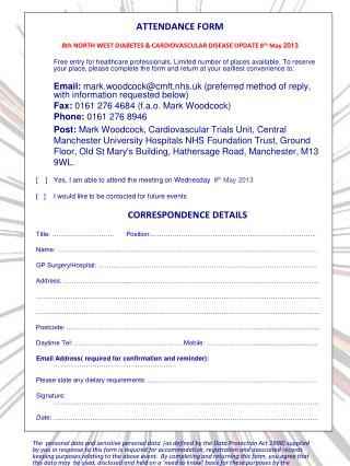 ATTENDANCE FORM 8th NORTH WEST DIABETES & CARDIOVASCULAR DISEASE UPDATE  8 th  May  2013