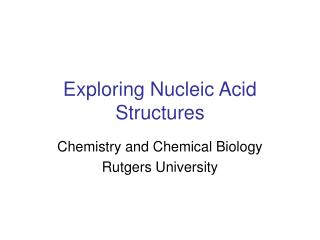 Exploring Nucleic Acid Structures