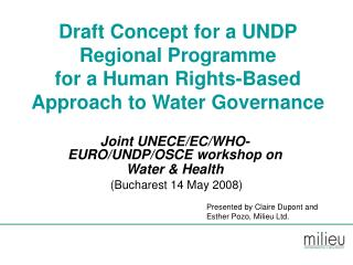 Draft Concept for a UNDP Regional Programme for a Human Rights-Based Approach to Water Governance