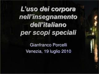 L'uso dei corpora nell'insegnamento dell'italiano  per scopi speciali