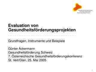 Evaluation von Gesundheitsförderungsprojekten