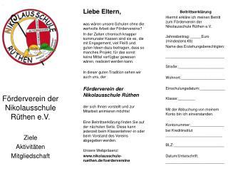 Förderverein der Nikolausschule Rüthen e.V.   Ziele Aktivitäten  Mitgliedschaft