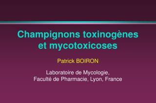 Champignons toxinogènes et mycotoxicoses