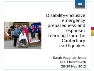 Sarah Vaughan-Jones ACC Christchurch 28-29 May 2012