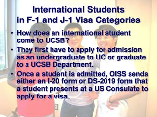 International Students  in F-1 and J-1 Visa Categories