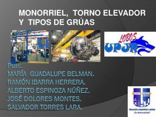 MONORRIEL,  TORNO ELEVADOR Y  TIPOS DE GRÚAS