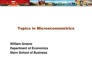 Topics in Microeconometrics