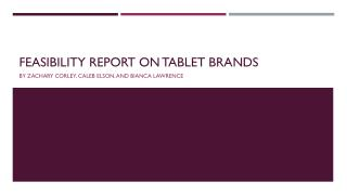Feasibility Report on Tablet Brands